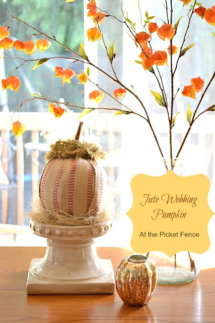 At The Picket Fence: Pumpkin Craft~ Jute Webbing PumpkinPicket Fences, Pumpkin Crafts, Crafts Ideas, Fall Y All, Atthepicketfence Com Diy, Fall Decor, Web Pumpkin, Jute Web, Front Porches