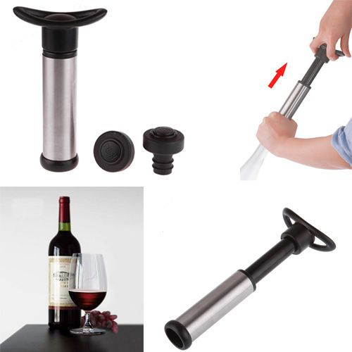 Wine Saver Pump with 2 x Vacuum Bottle Stoppers - Black(bottle stopper how to use)