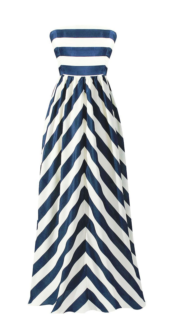 Navy and white wide stripe maxi dress