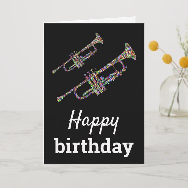 Funky Trumpet Colorful Music Happy Birthday Card Zazzle Com Happy Birthday Cards Birthday Cards Music Happy