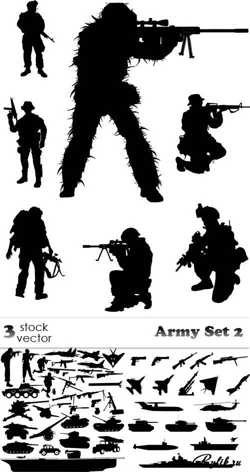 Военные, оружие, военная техника - черные силуэты. Vectors - Army Set 2