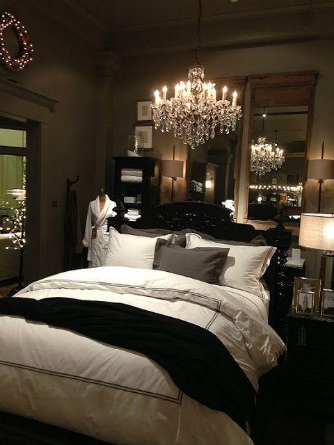 A warm Restoration Hardware bedroom