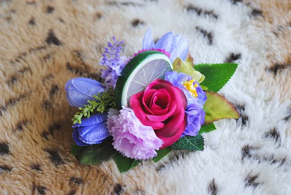 Tropical, Blue & Purple, Lime, Floral Pin Up, Rockabilly, Vintage Inspired, Fruit, Tiki Luau, Hair Clip, Fascinator, Fashion Accessory
