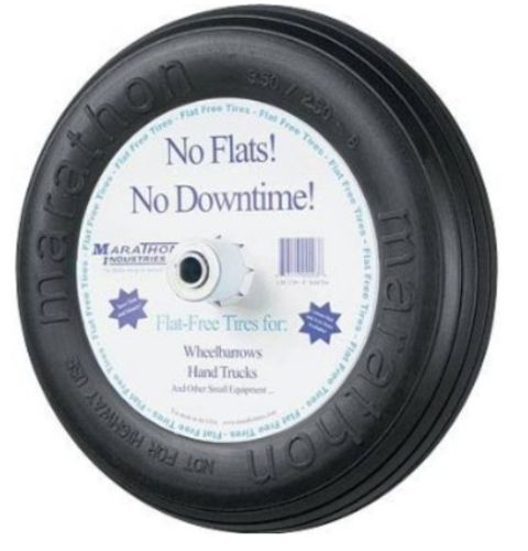 Marathon 00044 Flat-Free Wheelbarrow Tire, 3.50/2.50 x 8""