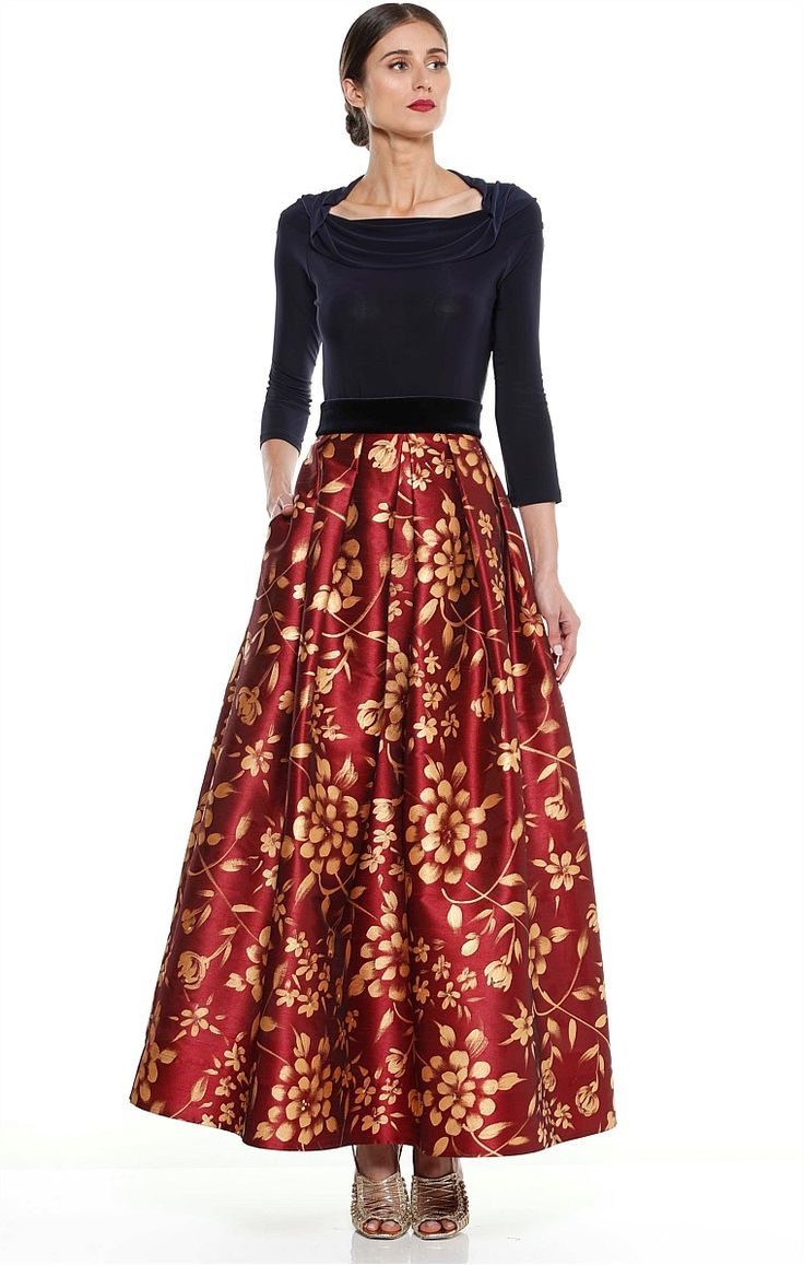 TEATRO ANTICO HAND PAINTED LONG MAXI SKIRT IN BURGUNDY GOLD ROSE
