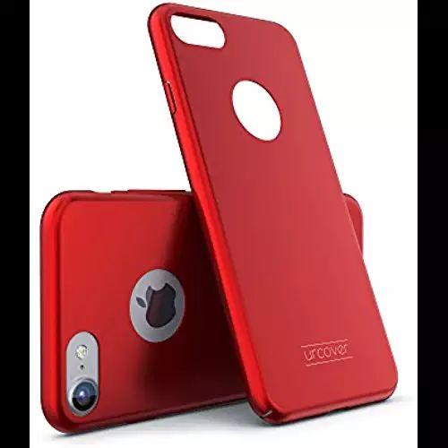 Urcover® Apple iPhone 7 Ultra Slim Hardcase | Kunststoff Rot | Case Handy-Cover Schutz-Hülle Schale Zubehör