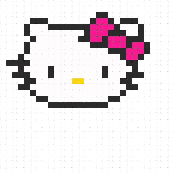 Hello Kitty Head Perler Bead Pattern / Bead Sprite