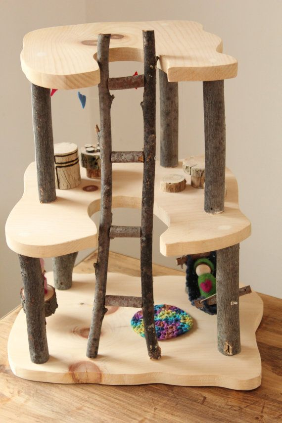 Wooden Tree House. Waldorf Doll House. Wooden door fallandFOUND