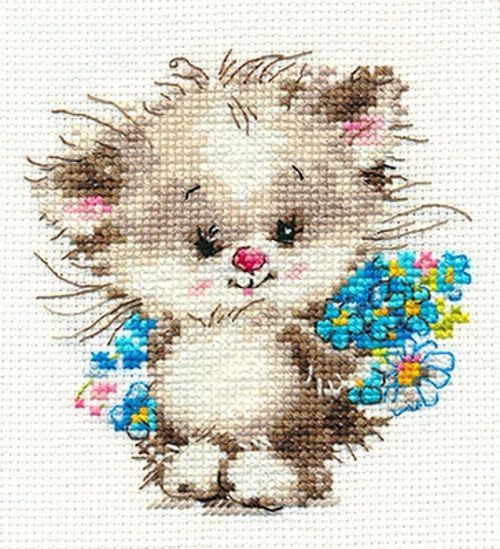 """A BRAND NEW COUNTED CROSS STITCH KIT """"CAT WITH FLOWERS"""" ALISA #ALISA"""