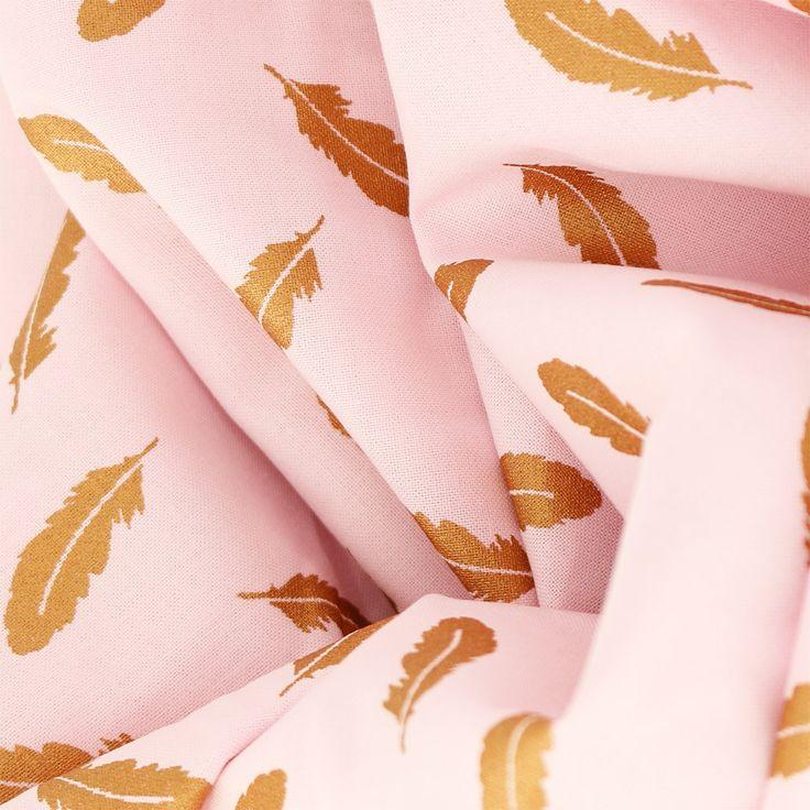 Tissu coton Tout ce qui brille Frou-Frou - Scintillant Plumes Rose - Perles & Co
