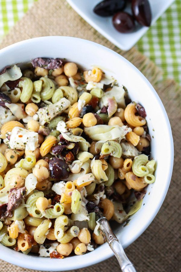 Whip up this Chickpea Pasta Salad as a healthy appetizer for your Super Bowl party or a spring picnic.