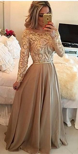 Gorgeous gold lace chiffon modest prom dress with sleeves, long ball gown for prom 2016