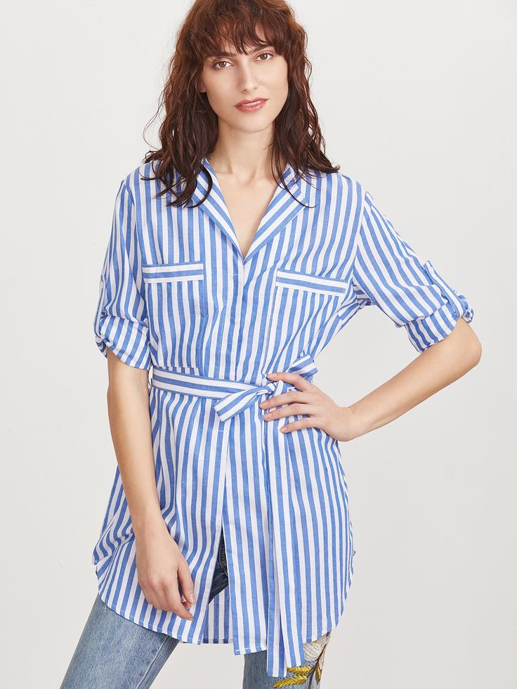 27$  Buy here - http://dim2d.justgood.pw/go.php?t=9780 - Blue Vertical Striped Pocket Front Belted Blouse