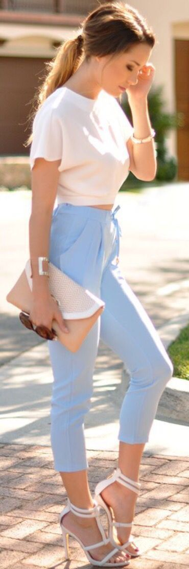 Women's fashion | White crop top with chic pastel blue trousers