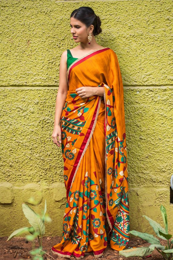 House Of Blouse Mustard Crepe Printed Saree