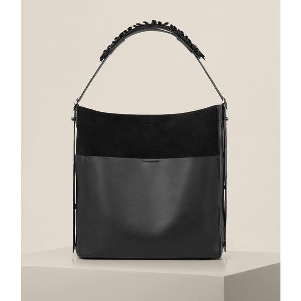 AllSaints Maya North South Tote (470 CAD) ❤ liked on Polyvore featuring bags, handbags, tote bags, black, tote handbags, north south tote, lightweight tote handbags, lightweight handbags and tote bag purse