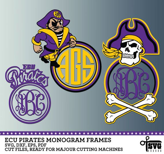 ECU Pirates Monogram Frames. Vector Digital Cut by SVGheavenSTORE