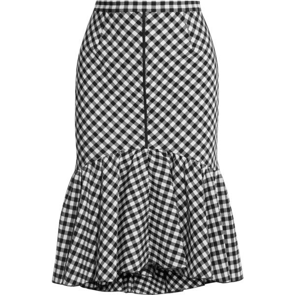 TOME Ruffled gingham jacquard skirt (£280) ❤ liked on Polyvore featuring skirts, black, gingham skirt, ruffled skirts, tome, ruffle hem skirt and frill skirt