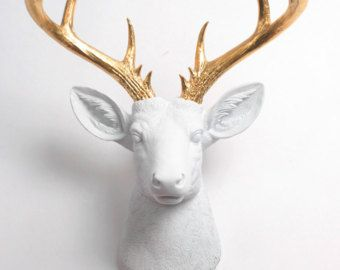 Deer Head Wall Mount Decor   The XL Alfred  by WhiteFauxTaxidermy