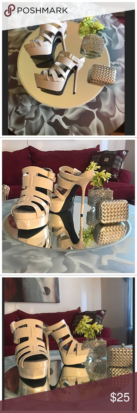 New Tulip Grey Mule Stiletto Platform Heels DESCRIPTION New size 9.5  Tulip is a mule platform sandal like you've never seen before. It's high-rise, strappy silhouette and glossy finish will have you commanding attention the moment you enter a room. scene Shoes Mules & Clogs