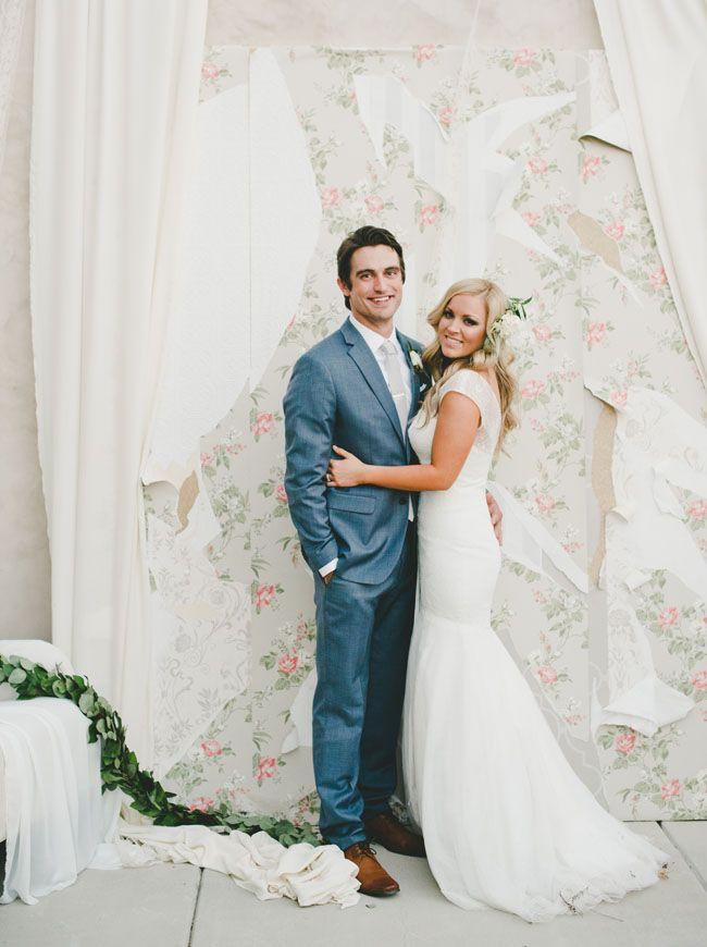 vintage wallpaper backdrop, photo background for wedding | Lush Wine Country Garden Wedding: McKenzi + Blake