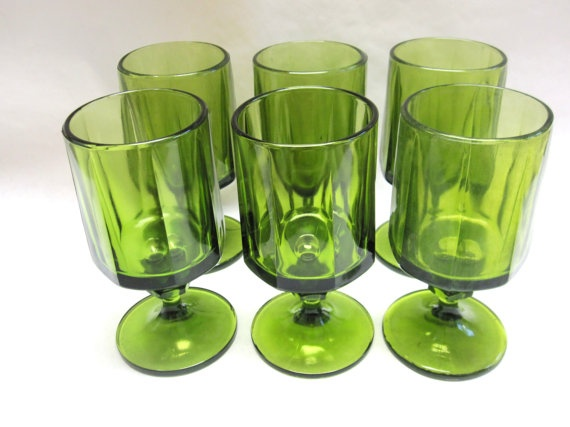 70s Modern Set Of Six Green Drinking Glasses by sweetie2sweetie, $17.99