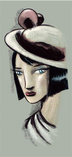 """""""Mapi è proprio felice del suo cappello"""". China, pastello, fx, su cartoncino. 2013."""