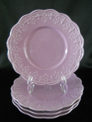 Lace By Kennex 4 Purple Luncheon Plates Scalloped Edge