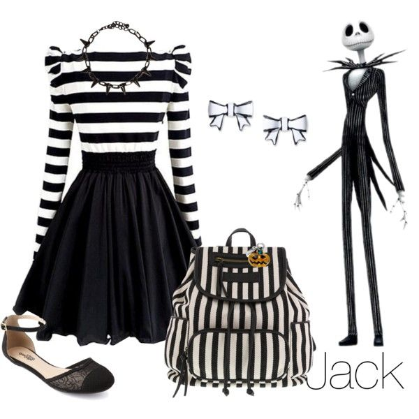 Disney Inspired Outfits: Jack Skellington by morganautical on Polyvore featuring polyvore, fashion, style, Dabuwawa, Charlotte Russe, Meggie and Betsey Johnson