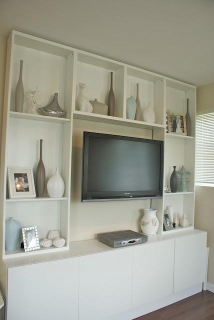 I like the wall mount tv space, would like deeper shelves for books