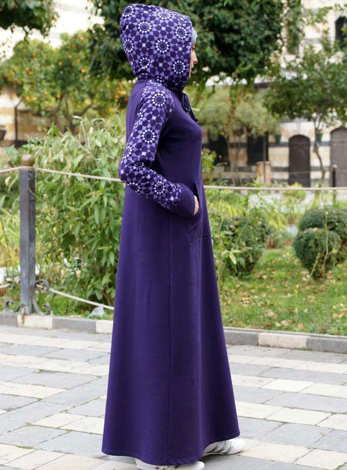 SHUKR USA   Arabesque Print Hooded Dress
