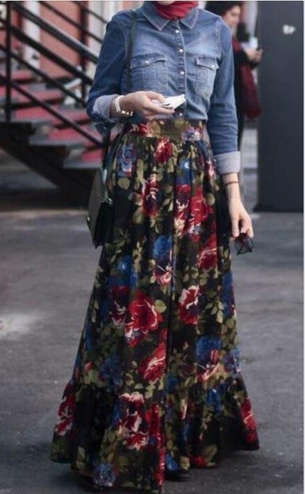 floral skirt + Hijab