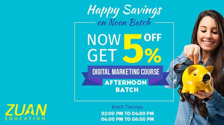 5% Off Happy Savings on Afternoon Batch