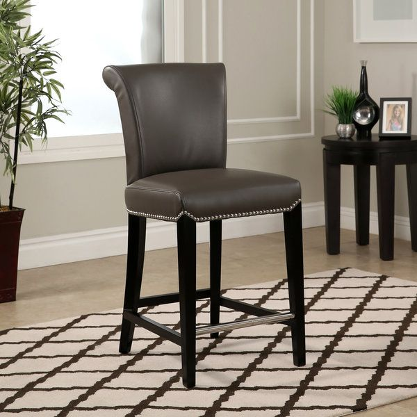 Abbyson Century Grey Leather Counter Stool | Overstock.com ...