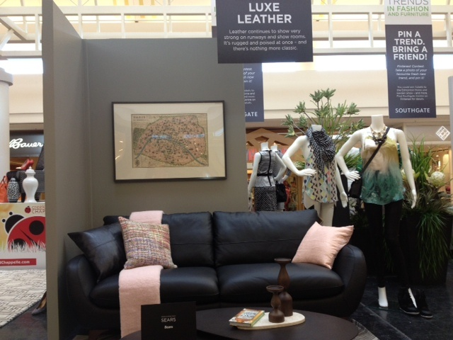 """Is the Luxe Leather vignette your fave? Re-pin this onto your """"Southgate and Edmonton Home Show Furniture Contest"""" as part of your contest entry!"""
