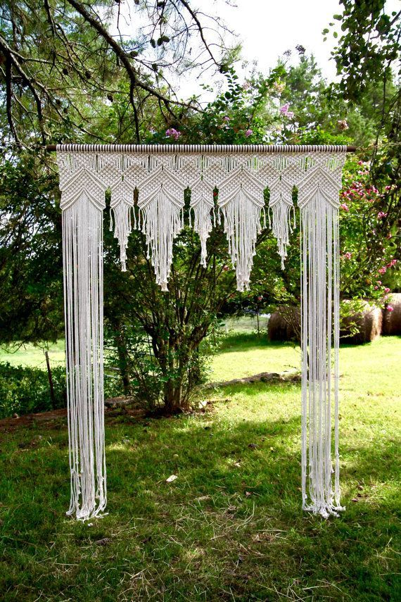 NEW Macrame Wedding Arch - 6' x 8' Natural White Cotton Rope on Wooden Dowel - Wedding Backdrop, Headboard, Curtain - Boho Decor