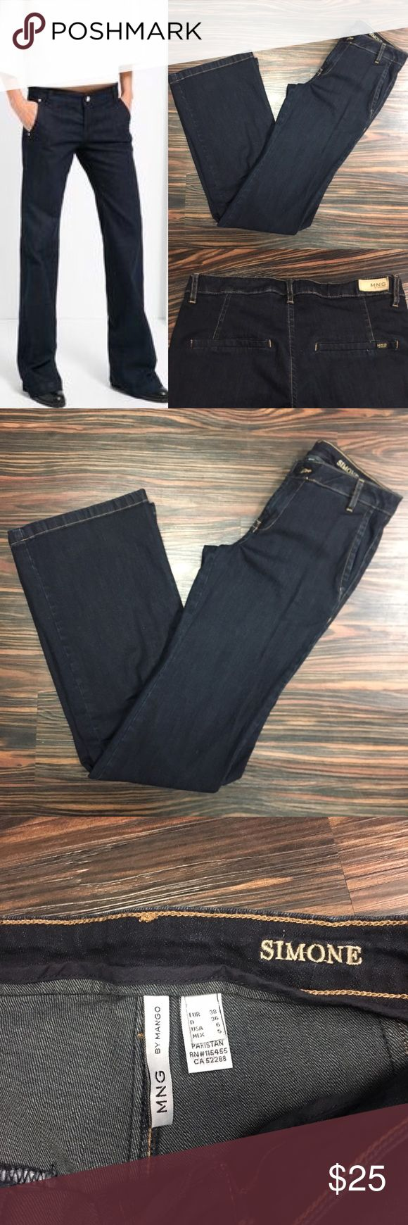 (Make an offer)MNG by Mango trouser jeans Trouser jean, dark wash with camel stitching. Great to wear with heels, elongates the leg. Size 6 Mango Jeans