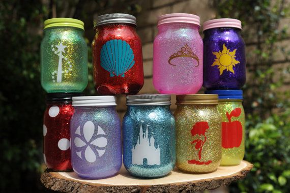 Tinted Glitter Mason Jar    Disney Princess by FireflyAtelier, $7.50 ----- I'm sure I can do this myself so cute!