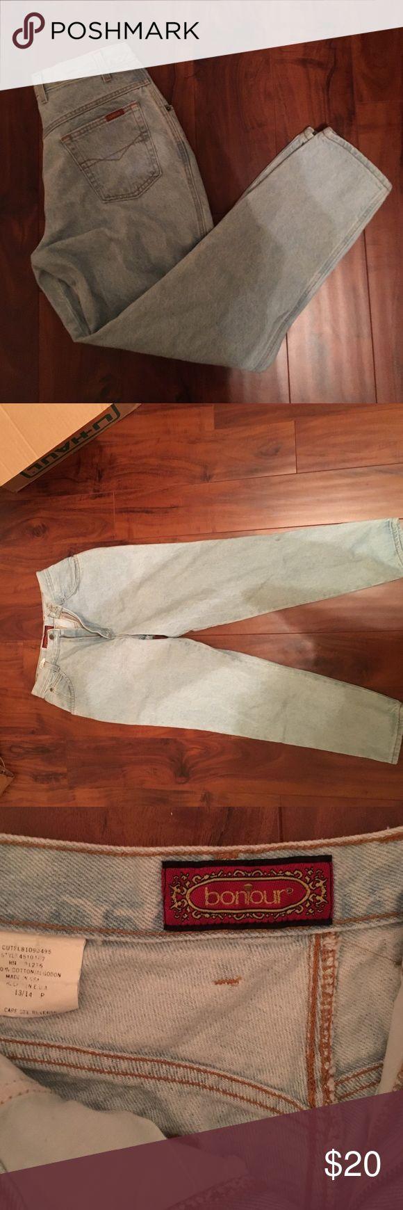 Bonjoir mom jeans Bonjour light wash jeans 15 waist measure flat 39 leg Vintage Pants Straight Leg