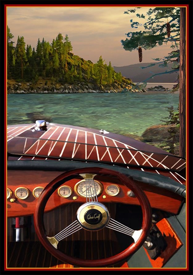 Chris Craft Poster Vintage Wooden Boat Dash Board Chris Craft Paul Bailey 5223 More