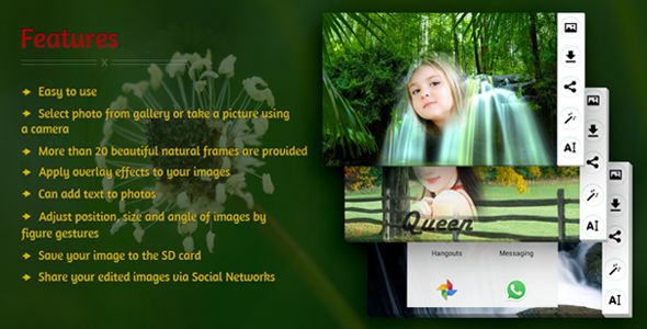 "source code of ""Natural Photo Frame Editor"" for android only in $15"