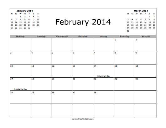 Free Printable 2014 Monthly Calendars   February 2014 Calendar - Free Printable - MyFreePrintable.com