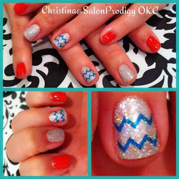 50 best nail designs by me images on pinterest nail designs chevron nail design in teal and coral love my job prinsesfo Image collections