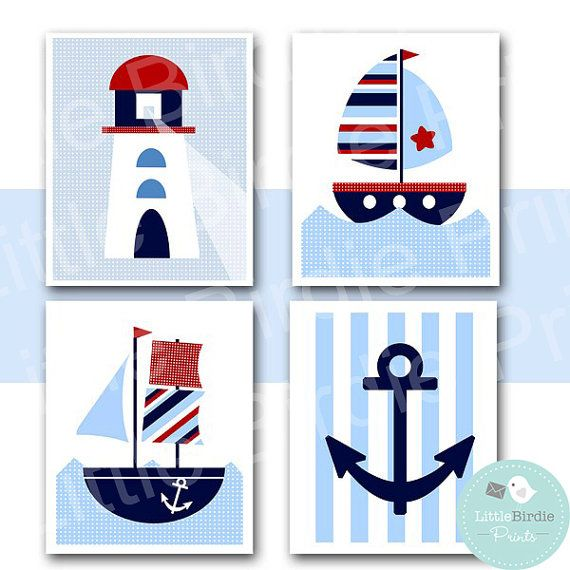 NAUTICAL Nursery WALL ART Instant Download by littlebirdieprints