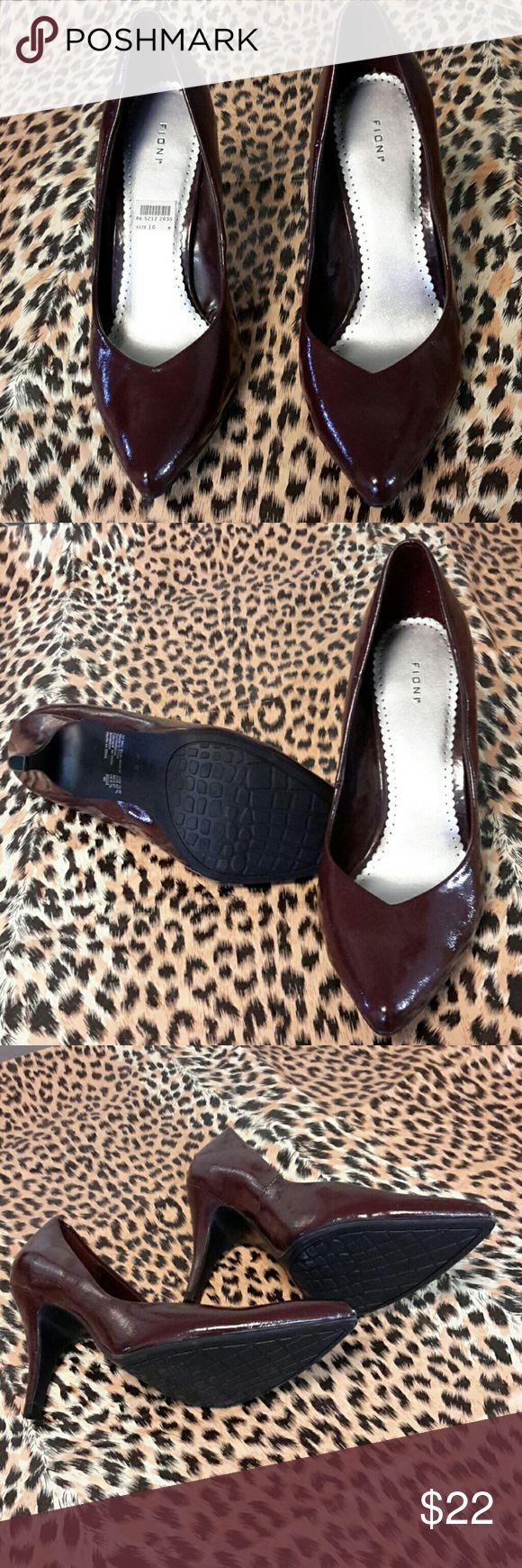 Dark red/ wine color high hills by Fioni.. Wine in color dark red size 10 high hills great condition.. but... on left shoe and left a ice on front the have a few very small white dots... see pics please.. all else is new and not worn. Shoes Heels