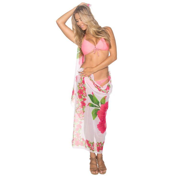 La Leela Beachwear Swimsuit Wrap Skirt Plus Sarong Shawl Dress Bathing Suit Coverup Sheer