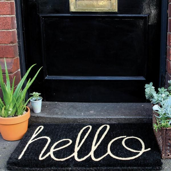 Hello Door mat - grey / black PRE ORDER FOR APRIL DELIVERY