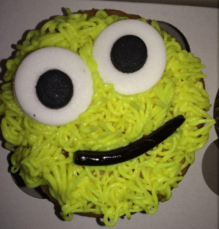 Yellow monster cupcake