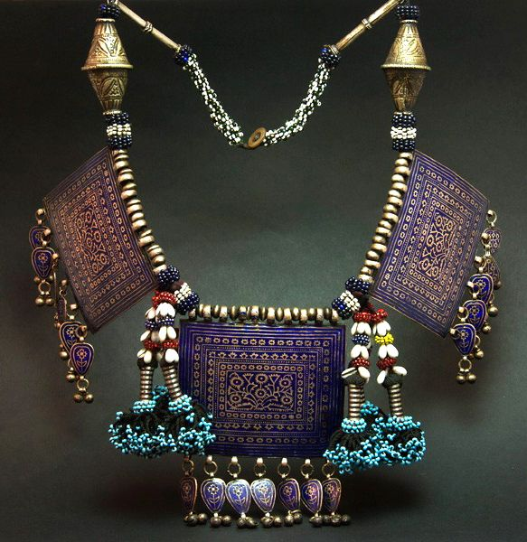 Afghanistan | Old Hazara necklace; silver and enamel plaques combined with silver, silver and enamel and glass beads | The silver and enamel plaques are from the 2nd half of the 19th century, the arrangement more recent