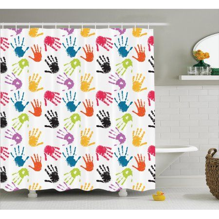 Kids Shower Curtain Set, Colorful Children Hand Print Cute Teamwork Painting Kids Fun Games Illustration Print, Bathroom Decor, Red Teal Yellow, by Ambesonne